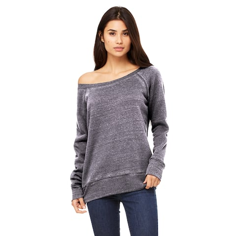 Sponge Women's Fleece Wide Neck Grey Acid Fleece Sweatshirt