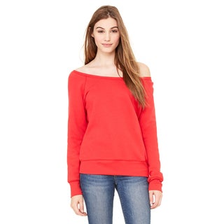 Sponge Women's Fleece Wide Neck Red Sweatshirt