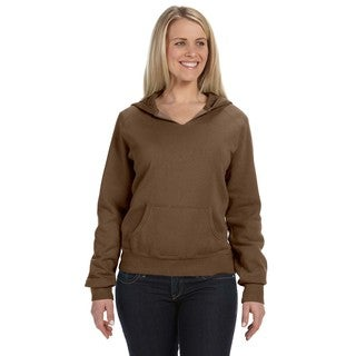 Women's Garment-dyed Front-slit Hoodie Brown Pullover