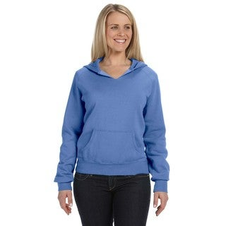 Women's Garment-dyed Front-slit Hoodie Flo Blue Pullover