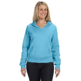 Women's Garment-dyed Front-slit Hoodie Lagoon Blue Pullover
