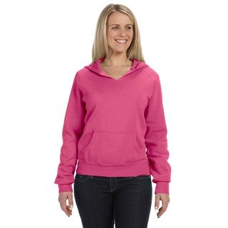 Women's Garment-dyed Front-slit Hoodie Raspberry Pullover