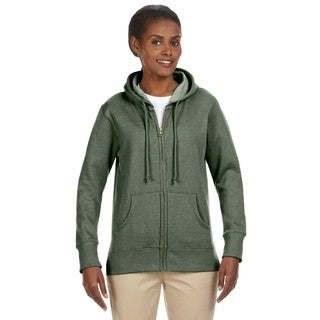 Women's Organic/ Recycled Heathered Fleece Military Green Full-zip Hoodie
