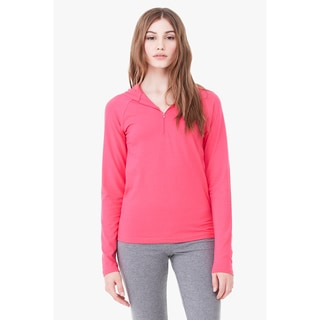 Cotton/ Spandex Women's Half-zip Hooded Fuchsia Pullover