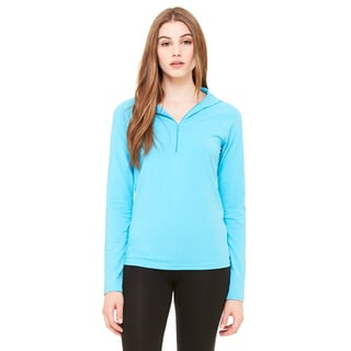Cotton/ Spandex Women's Half-zip Hooded Turquoise Pullover