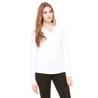 Cotton/ Spandex Women's Half-zip Hooded White Pullover