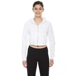 Cropped Women's Flex Fleece Zip White Hoodie