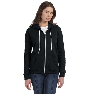 Full-zip Women's Black Hooded Fleece