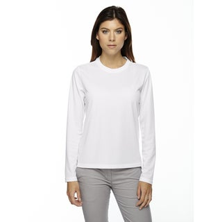 Agility Women's Performance Long-sleeve Pique Crew Neck White 701 Shirt