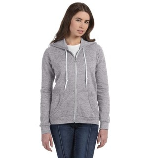 Full-zip Women's Heather Grey Hooded Fleece