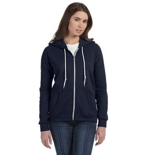 Full-zip Women's Navy Hooded Fleece