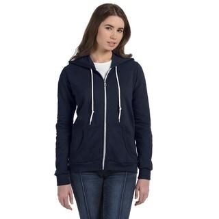 Full-zip Women's Navy Hooded Fleece
