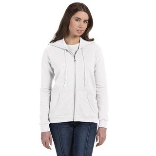 Full-zip Women's White Hooded Fleece