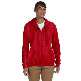 Heavy Blend Women's 50/50 Red Full-zip Hoodie