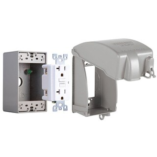 """Hubbell Taymac MKG4280S 3.5"""" Low Profile Vertical In-Use Cover & GFCI TR Receptacle"""