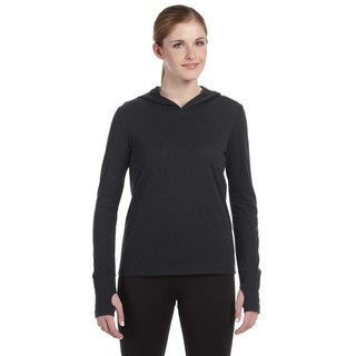 Performance Women's Triblend Long-sleeve Charcoal Heathered Triblend Hooded Pullover with Runner's Thumb (5 options available)