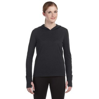 Performance Women's Triblend Long-sleeve Charcoal Heathered Triblend Hooded Pullover with Runner's Thumb