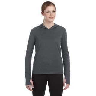 Performance Women's Triblend Long-sleeve Grey Heathered Triblend Hooded Pullover with Runner's Thumb