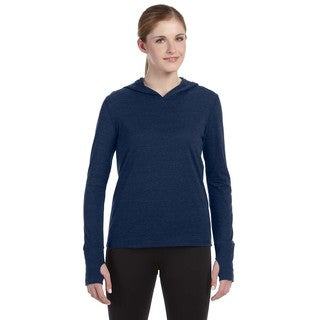 Performance Women's Triblend Long-sleeve Navy Heathered Triblend Hooded Pullover with Runner's Thumb