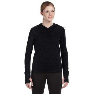 Performance Women's Triblend Long-sleeve Solid Black Triblend Hooded Pullover with Runner's Thumb