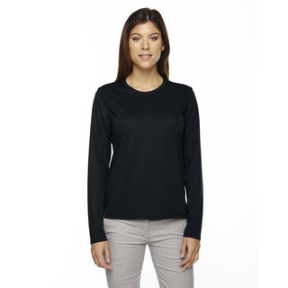 Agility Women's Performance Long-sleeve Pique Crew Neck Black 703 Shirt