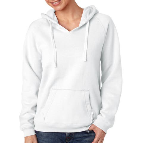 Sydney Women's Brushed V-neck White Hoodie