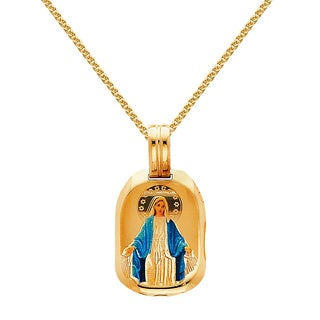 14k Yellow Solid Gold and Enamel 5/7-inch Blessed Virgin Religious Pendant and 1.5 mm Flat Wheat Chain