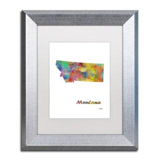 Marlene Watson 'Montana State Map-1' Matted Framed Art