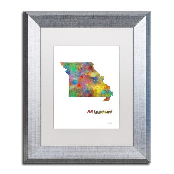 Shop Marlene Watson \'Missouri State Map-1\' Matted Framed Art - Free ...
