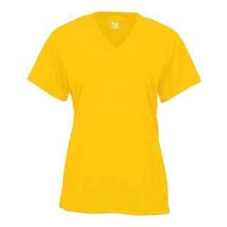 B-core Women's V-neck Short-sleeved Performance Gold T-shirt