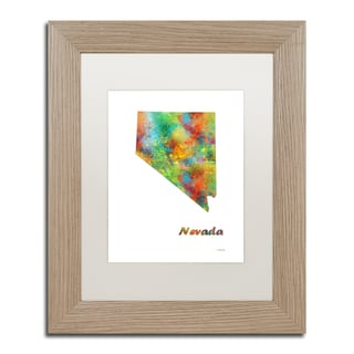 Marlene Watson 'Nebraska State Map-1' Matted Framed Art
