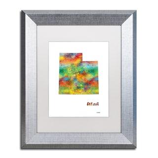Marlene Watson 'Utah State Map-1' Matted Framed Art