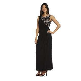 R & M Richards Women's Blue/Black Lace Long Dress