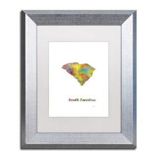 Marlene Watson 'South Carolina State Map-1' Matted Framed Art