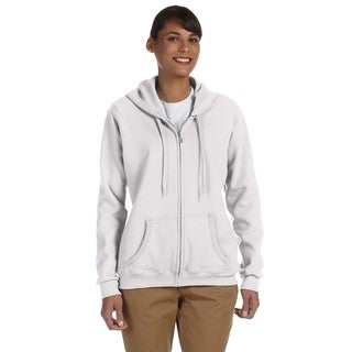 Heavy Blend Women's 50/50 White Full-zip Hoodie