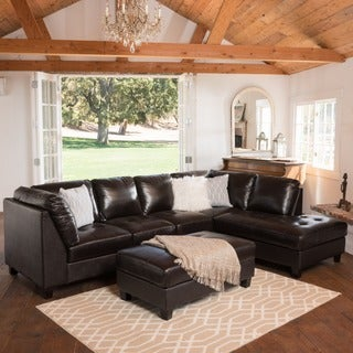 Hemnes 3-piece Tufted Leather Sectional Sofa Set by Christopher Knight Home