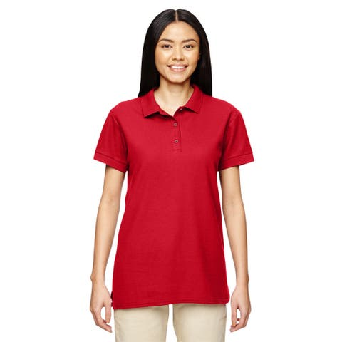 Premium Cotton Women's Double Pique Red Sport Shirt