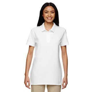 Premium Cotton Women's Double Pique White Sport Shirt