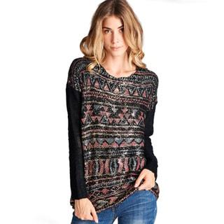 Orange Creek Long-sleeved Foil Tribal Print Knit Sweater
