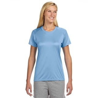 Shorts Sleeve Women's Shirt Light Blue Cooling Performance Crew