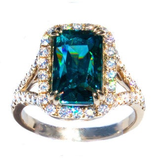 California Girl Jewelry 14k Gold Blue Zircon and 3/4ct TDW Diamond Ring