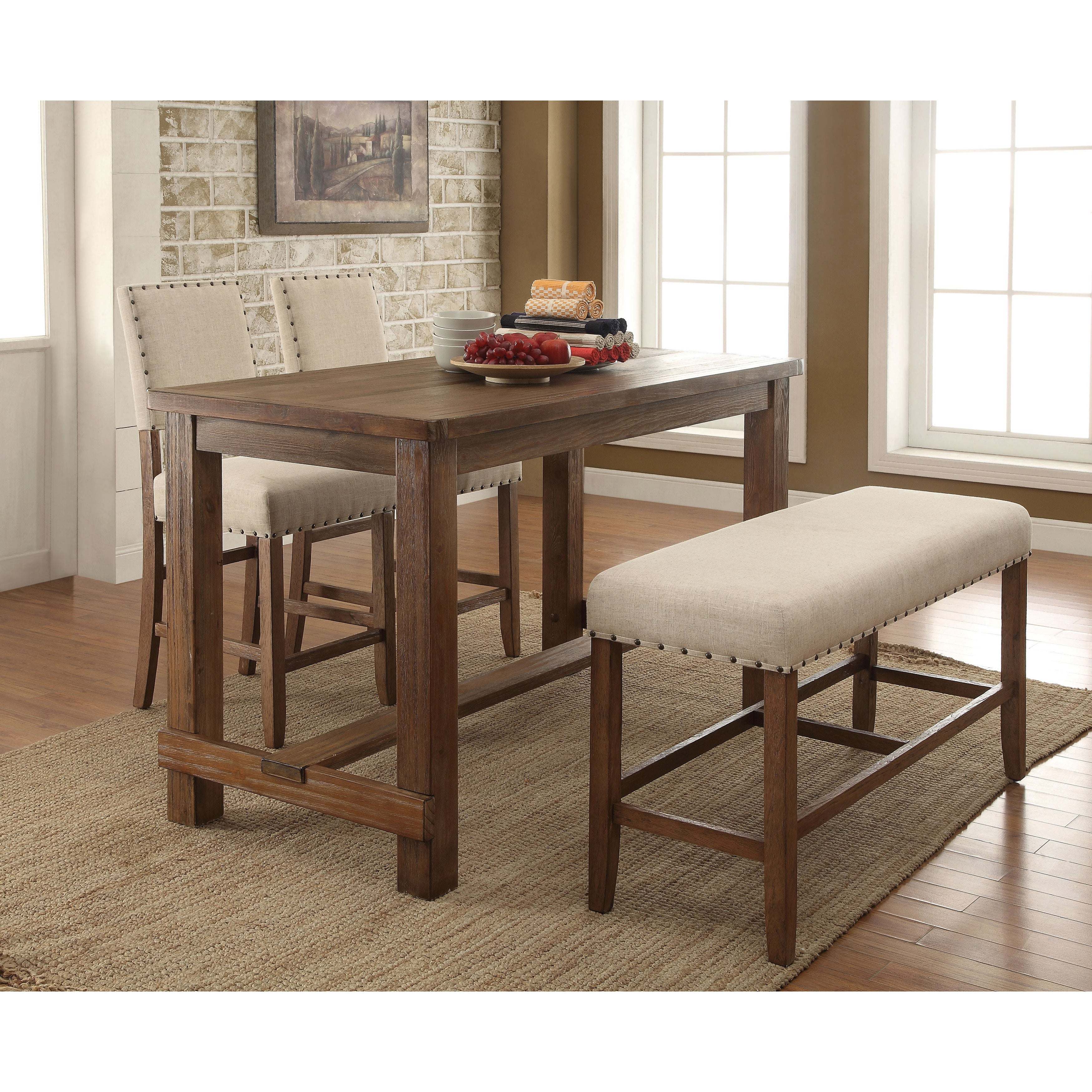 Furniture Of America Telara Contemporary Natural Tone Counter Height Dining  Bench