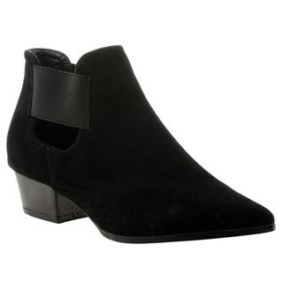 CAPE ROBBIN GD54 Women's Pointed Toe Low Chunky Heel Cut-out Ankle Booties