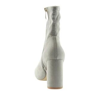 CAPE ROBBIN GD58 Women's Side Zipper Wrapped Block Heel Ankle Booties