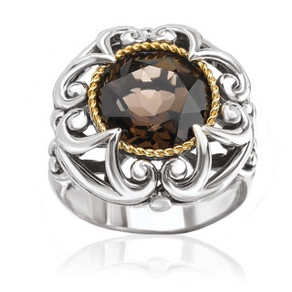 Avanti Sterling Silver and 18k Yellow Gold Smoky Quartz Flower Design Ring