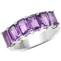 Malaika Sterling Silver 3 1/3ct TW Amethyst Ring