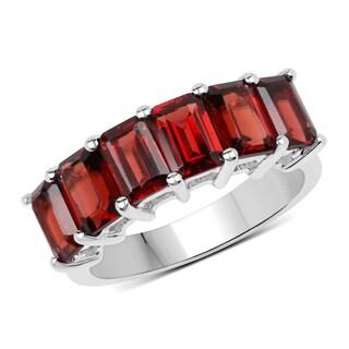 Malaika Sterling Silver 4 7/8ct TW Garnet Ring