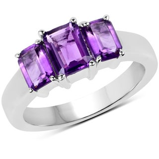 Malaika Sterling Silver 2 1/10ct TW Amethyst Ring