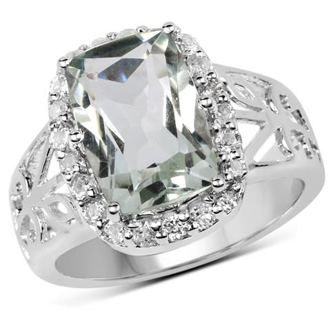 Malaika Sterling Silver 4ct TW Green Amethyst and White Topaz Ring