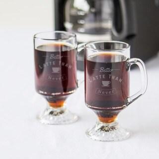 Better Latte Than Never 10-ounce Irish Glass Coffee Mugs (Set of 4)